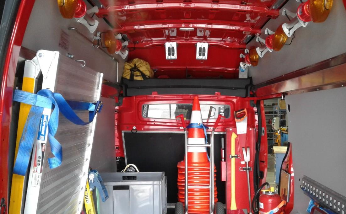aménagement d'un véhicule de pompier