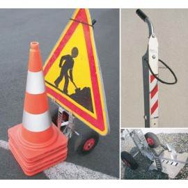 Road works sign and cones trolley